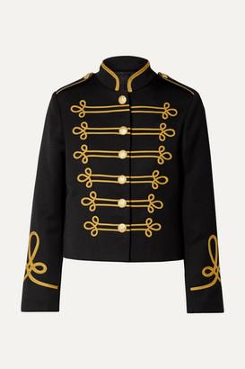 Nili Lotan Jaselle Cropped Embroidered Wool-twill Jacket - Black