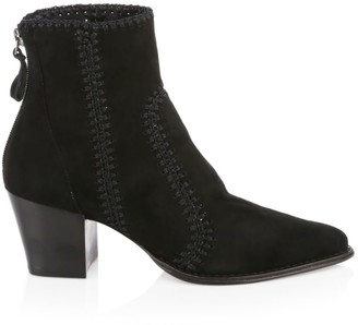 Alexandre Birman Benta Embroidered Suede Ankle Boots