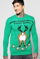 Boohoo Filthy Animal Emoji Christmas Jumper