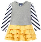 Toobydoo Striped Sleeve Ruffle Bottom Dress (Toddler, Little Girls, & Big Girls)