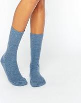Johnstons of Elgin Blue Cashmere Ankle Socks