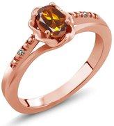 Gem Stone King 0.41 Ct Oval Orange Red Madeira Citrine White Diamond 14K Rose Gold Ring