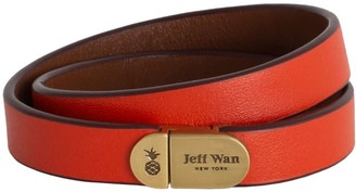 Jeff Wan Leather Bracelet With Magnetic Closure Orange Manhattan