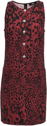 Versace Button-embellished Printed Crepe Mini Dress