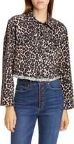 Alice + Olivia Jeans Leopard Print Boxy Denim Trucker Jacket
