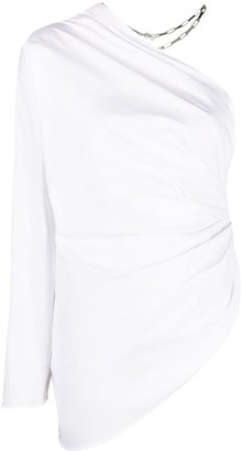 ATTICO Ruched One-Shoulder Blouse