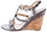 Chanel Metallic Snakeskin Embellished Sandals