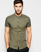 Asos Skinny Shirt In Khaki With Grandad Collar And Short Sleeves