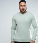 Asos Plus Lightweight Muscle Fit Sweatshirt In Blue