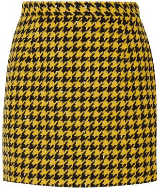 Alessandra Rich Houndstooth Wool-blend Tweed Mini Skirt