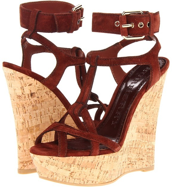 Burberry Suede Platform Wedge Sandal (Rust) - Footwear