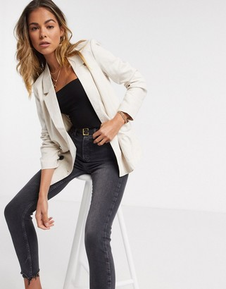 Vero Moda linen double breasted blazer in cream