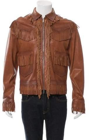 DSQUARED2 Leather Fringe Jacket w/ Tags