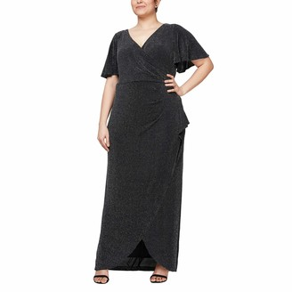 Alex Evenings Women's Plus Size Long Flutter Sleeve Dress with Tulip Overlay Skirt