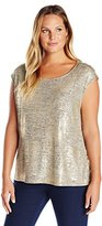 Calvin Klein Women's Plus-Size Short-Sleeve Top with Shoulder Buttons