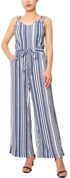 Planet Gold Juniors' Striped Wide-Leg Jumpsuit