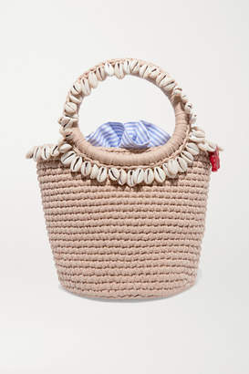 BEIGE Mizele - + Timeless Pearly Shell-embellished Crocheted Cotton Tote