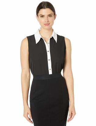 Calvin Klein Women's Button Front Collared Sleeveless Top