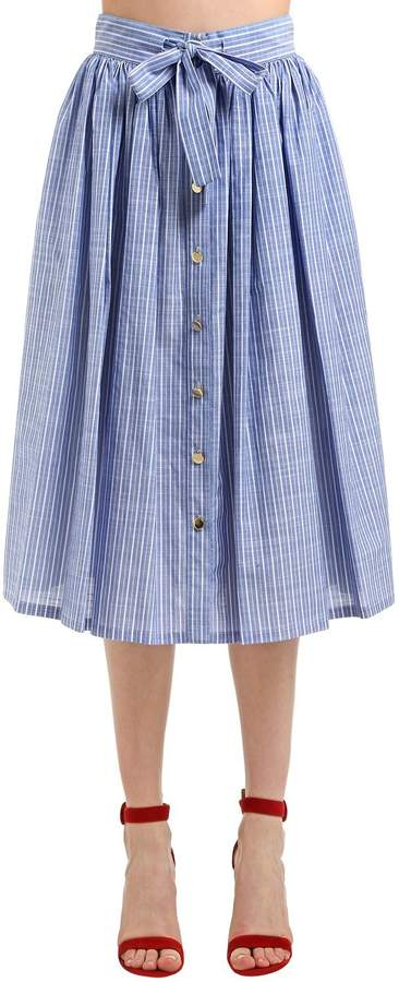 Stella Jean Striped Cotton Midi Skirt