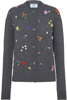Prada Embroidered Floral Cardigan