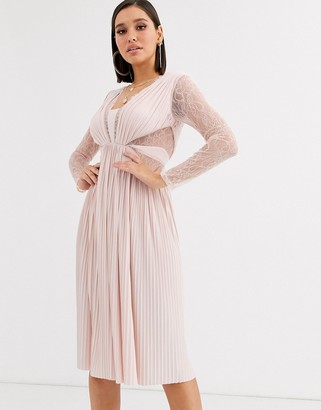 Asos Design DESIGN lace and pleat long sleeve midi dress-Beige