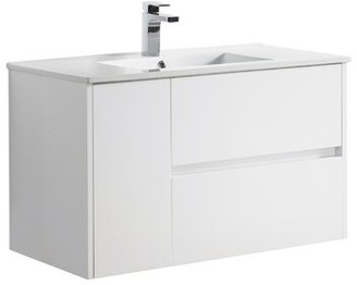 "Blossom 36"" Wall Mounted Single Bathroom Vanity Base Only Base Finish: Glossy White"