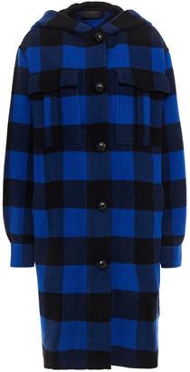 Rag & Bone Checked Brushed Wool-blend Felt Hooded Coat