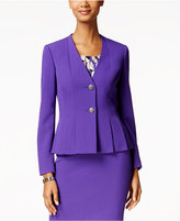 Kasper Crepe Two-Button Pleated-Hem Blazer