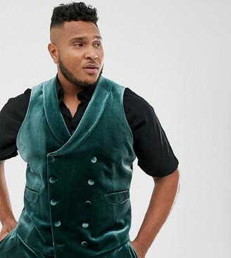 ASOS DESIGN Plus super skinny tuxedo waistcoat in forest green velvet