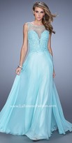 La Femme Iridescent Stone Bodice Prom Dress