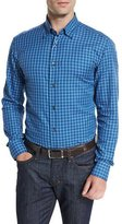 Brioni Check Sport Shirt, Blue