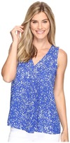 Vince Camuto Sleeveless V-Neck Textural Reef Drape Front Blouse