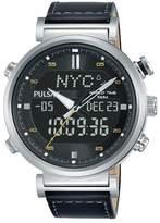Pulsar Men's Multi-Function Black Leather Strap Watch