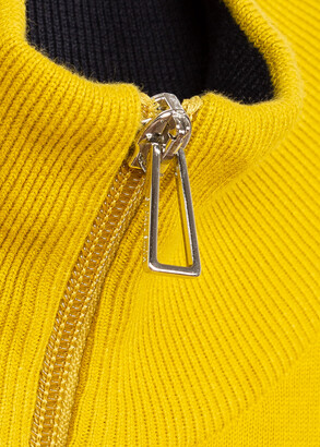 Paul Smith Men's Yellow Zebra Logo Cotton Zip-Neck Sweater