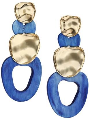 Akola Cobalt Horn Link Dangling Post Earrings