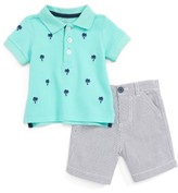 Little Me Infant Boy's Palm Tree Polo & Pinstripe Shorts Set