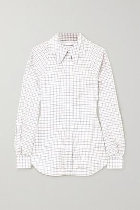Victoria Beckham Checked Cotton Shirt - White