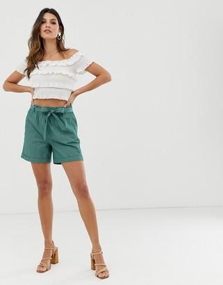 Esprit stripes tie waist short in green