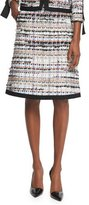 Oscar de la Renta Tweed A-Line Skirt W/Pockets, Camel