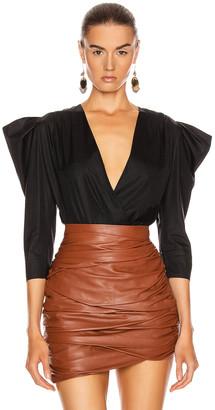 ZEYNEP ARCAY Wrap Cotton Bodysuit in Black | FWRD