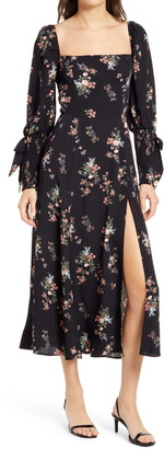 Reformation Aubrey Floral Long Sleeve Midi Dress