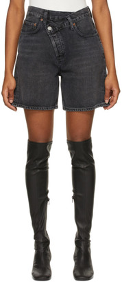 AGOLDE Black Denim Criss Cross Upsized Shorts