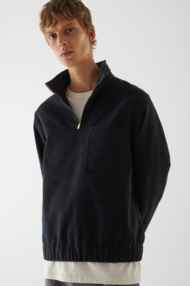 Cos Cotton Half-Zip Pullover Jumper