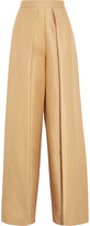 SOLACE London Taryn Pleated Satin-Faille Wide-Leg Pants