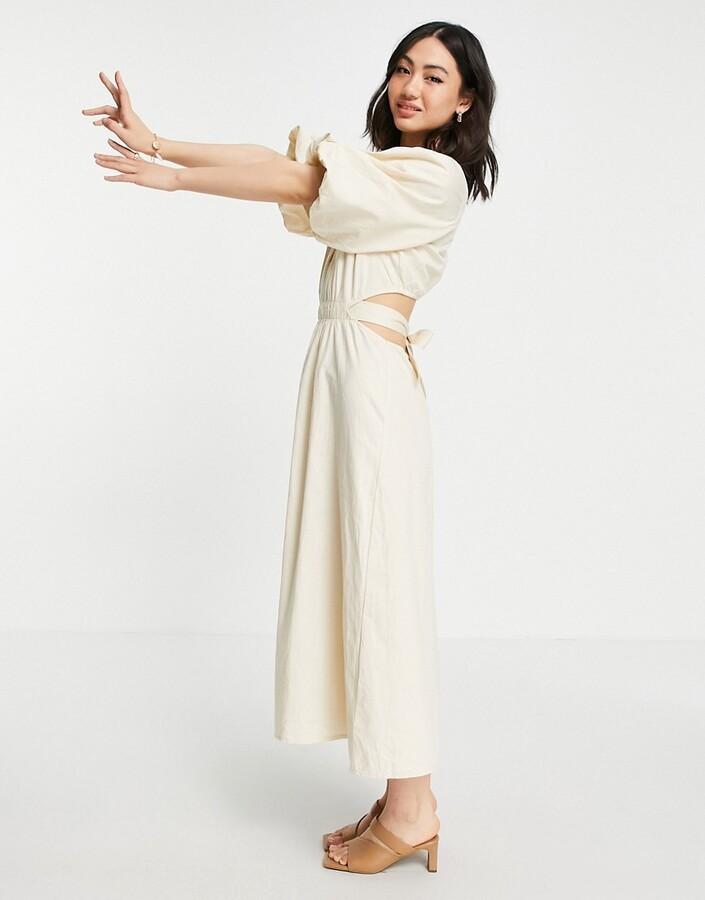 Pretty Lavish organic cotton cut out waist midi dress in beige
