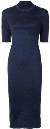 Fendi Textured-Finish Fitted Silk Dress