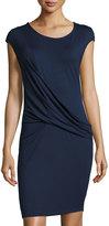 Three Dots Maha Draped Jersey Dress, Night Iris