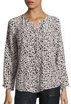 Joie Purine Heart-Print Silk Blouse