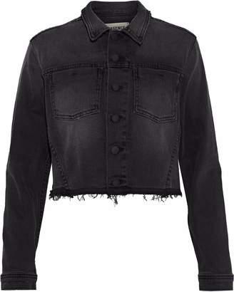 L'Agence Zuma Cropped Sequin-embellished Denim Jacket