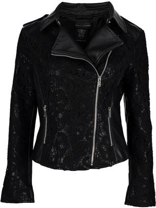 Live A Little Women's Non-Denim Casual Jackets black - Black Lace-Trim Faux-Leather Moto Jacket - Women